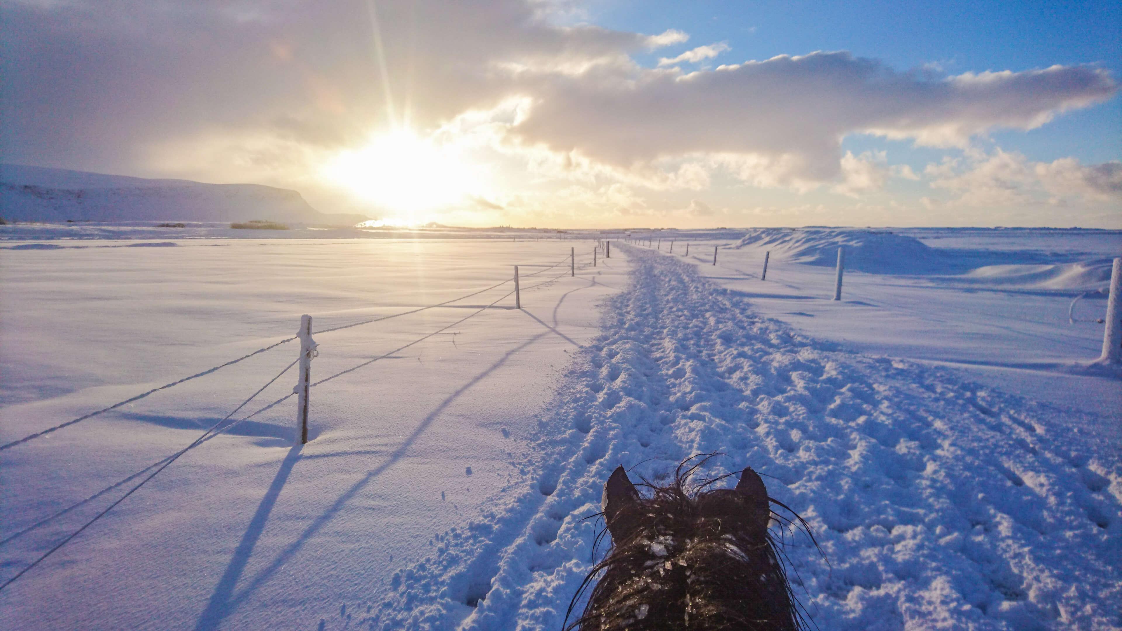 Reiten durch Schnee bei Sonnenuntergang
