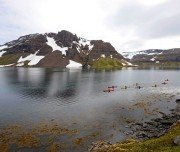 Kajak fahren in Island in Fjorden