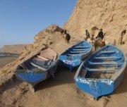 Fischerboote auf der Reittour am Strand, Marokko