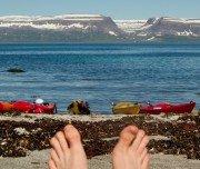 Rast mit Blick auf die Fjorde