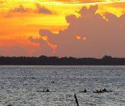 Fischer bei Sonnenuntergang